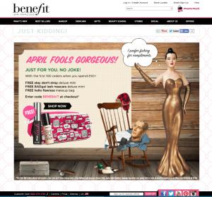 Benfit April fools email landing page2
