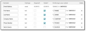 Mailchimp - custom fields screenshot