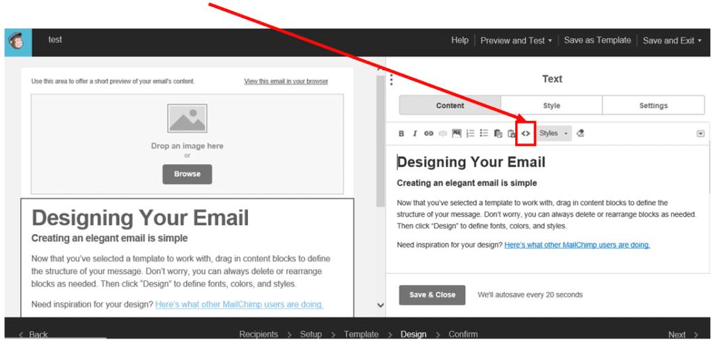 Mailchimp - dynamic content screenshot creative source button