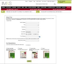 M&S Sign Up Form