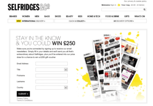 Selfridges Sign Up Form