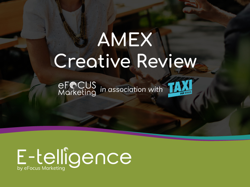 October 2019 – Creative Review with Taxi for Email: AMEX